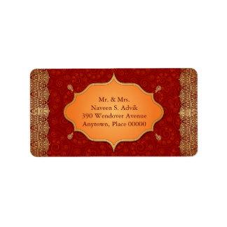 Marco dorado del indio del borde etiqueta de dirección