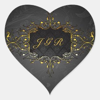 Marco elegante 4 del cordón del oro del vintage pegatina en forma de corazón