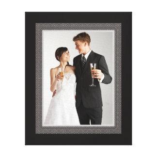 Marco elegante de la foto del boda del estilo del  impresión en lienzo