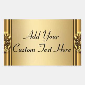 Marco elegante del oro en los pegatinas del oro pegatina rectangular