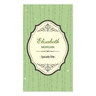 Marco elegante verde brumoso del vintage de la tarjetas de visita