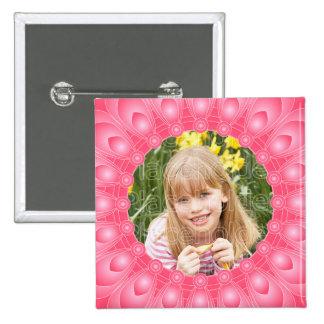 Marco en colores pastel rosado de la flor con la pin cuadrado