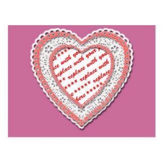 Marco en forma de corazón atado de la foto postal
