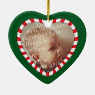 Marco en forma de corazón de la foto adorno navideño de cerámica en forma de corazón