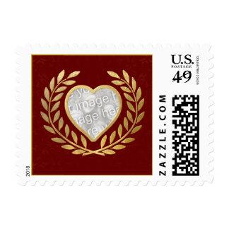 Marco en forma de corazón de la foto sellos