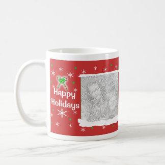 Marco feliz rojo de los copos de nieve 2-Photo del Tazas De Café