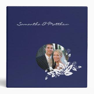 Marco floral azul del boda de la carpeta de encarg