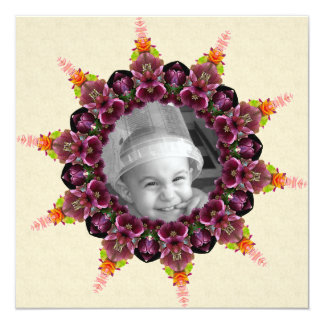 Marco floral de la foto de la mandala del invitación 13,3 cm x 13,3cm