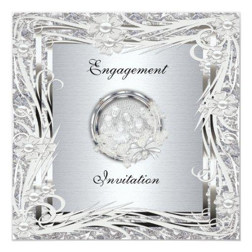 Marco floral de la plata del compromiso del boda anuncios personalizados