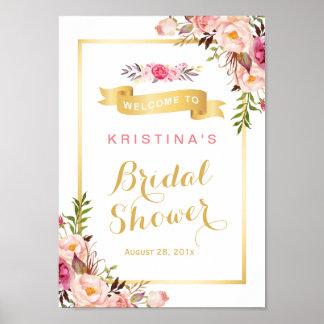 Marco floral elegante elegante del oro de la póster