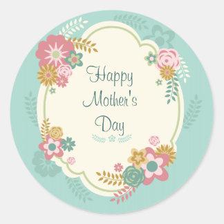 Marco floral feliz del día de madre pegatina redonda