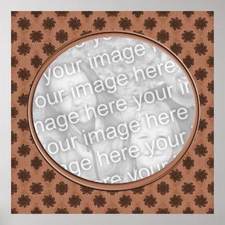 marco floral marrón de la foto poster