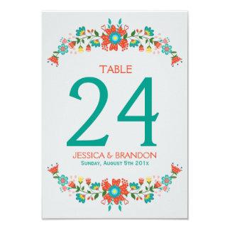 """Marco floral retro colorido de la guirnalda invitación 3.5"""" x 5"""""""