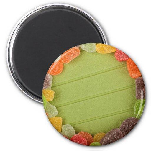 Marco gomoso del caramelo imán redondo 5 cm