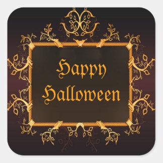 Marco gótico Halloween del oro elegante Calcomanía Cuadrada