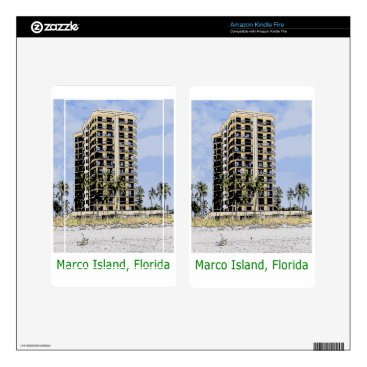 Beach Themed Marco Island Condo with Palm Trees in Front Skins For Kindle Fire