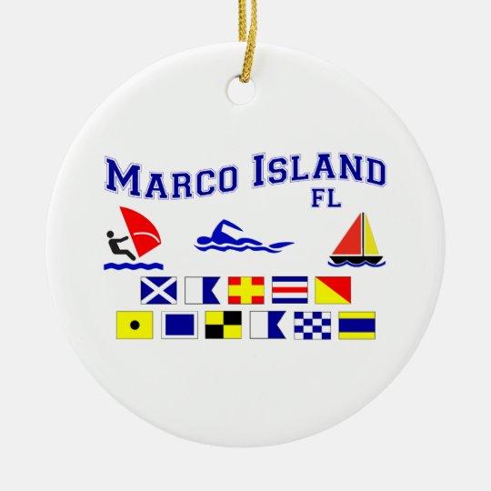Marco Island FL Signal Flags Ceramic Ornament