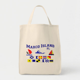 Marco Island FL Signal Flags Grocery Tote Bag