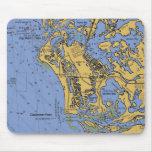 marco, island, florida, nautical, chart, mousepad