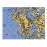 marco, island, florida, nautical, chart, postcard