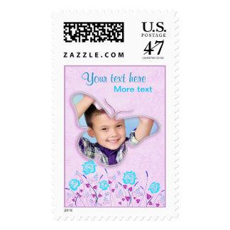 Marco lindo púrpura y azul de la foto de la sello postal