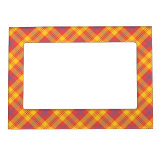 Marco magnético de la tela escocesa azul amarilla marcos magneticos para fotos