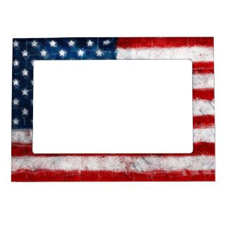 Marco magnético del retrato de la bandera american foto de imanes