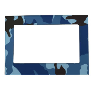 Marco magnético militar azul de Camo Marcos Magnéticos De Fotos