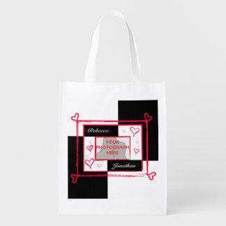 marco moderno de la foto del corazón del amor bolsas para la compra