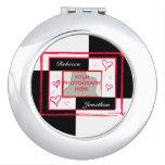 marco moderno de la foto del corazón del amor espejos para el bolso