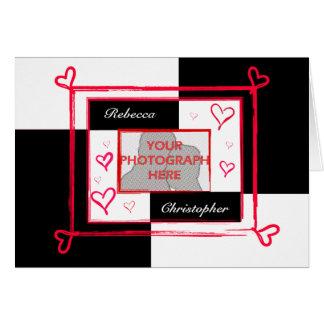 Marco moderno rojo blanco negro de la foto del cor tarjetas