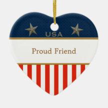 Marco patriótico del corazón del amigo orgulloso ornamentos de reyes