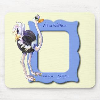 Marco personalizado de la avestruz tapete de raton