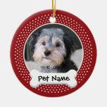 Marco personalizado de la foto del perro - adorno navideño redondo de cerámica