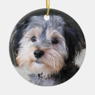Marco personalizado de la foto del perro - DE Adorno Navideño Redondo De Cerámica