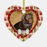 Marco personalizado de la foto del perro ornamento de navidad