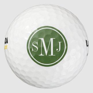 Marco personalizado del monograma y de la copa pack de pelotas de golf