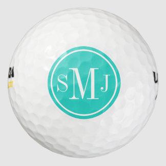 Marco personalizado del monograma y de la turquesa pack de pelotas de golf