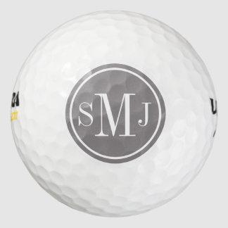 Marco personalizado del monograma y del titanio pack de pelotas de golf