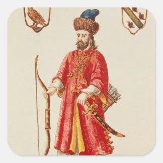 Marco Polo se vistió en traje del tártaro Pegatina Cuadrada