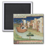 Marco Polo with elephants and camels arriving 2 Inch Square Magnet
