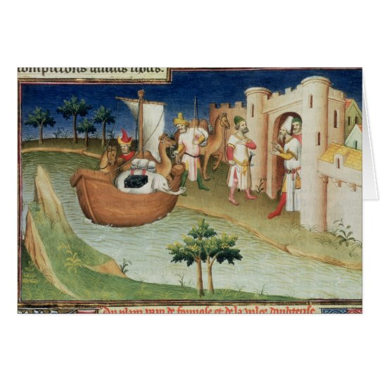 Marco Polo with elephants and camels arriving Card