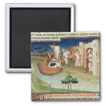 Marco Polo with elephants and camels arriving Magnet