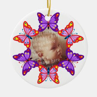Marco redondo de la foto de la mariposa adorno redondo de cerámica