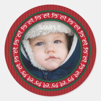 Marco redondo ornamental de la foto del navidad etiqueta