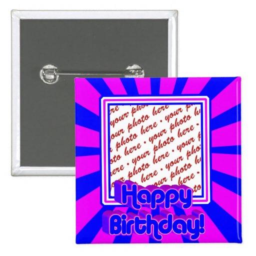 Marco retro de la foto del cumpleaños de los años  pin cuadrada 5 cm