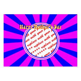 Marco retro rosado y azul del día de madre feliz - tarjetas de visita grandes