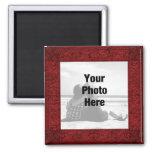 Marco rojo adornado de lujo del imán de la foto