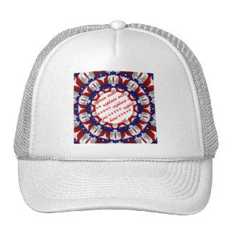 Marco rojo, blanco y azul de la foto del círculo gorras de camionero