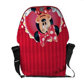 Marco rojo de la flor de Minnie el   Bolsa De Mensajería